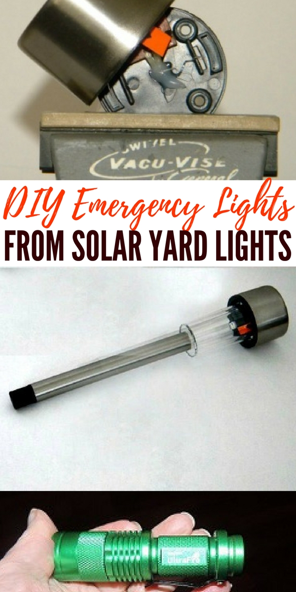 DIY Emergency Lights from Solar Yard Lights — I love this idea. These little solar lights give off a lot of light, surprisingly. Get the rack from Lowe's. (It's an under shelf basket turned upside down.) This way, you can keep them outside and charged up, but they can be brought inside very easily.
