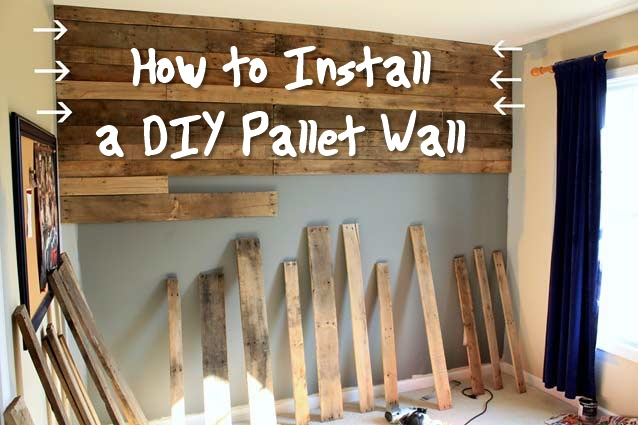 How to Install a DIY Pallet Wall - This is a great DIY project. This could be a free DIY pallet wall if you use the power of the internet. Use craigslist or the local supermarkets to get free pallets. For this project you must make sure you only get heat treated pallets.