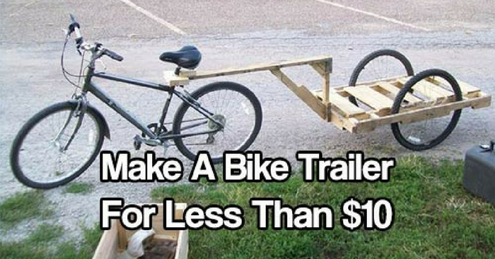 How To Make A Bike Trailer For Less Than $10 — Using a bike is a great way to zip around town and run errands, but some jobs are a little more than a bike alone can handle. What about carting around jugs of water or groceries? How do you get power tools to a friends' house to work on a project? A backpack can only hold so much!