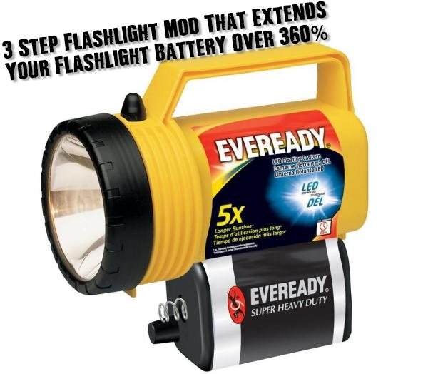 3 Step Flashlight Mod That Extends Flashlight Battery Over 360% - In any emergency you need to have a source of light. Unfortunately most people who buy flashlights will leave them in a drawer somewhere for months or years and when the time comes to use it, the batteries are dead. With this easy DIY modification, you can get over 360% more battery efficiency thus extending the life of your flashlight.