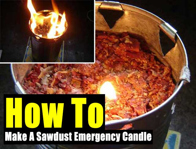How To Make A Sawdust Emergency Candle - This is for a long burning light and heat source for times when the power is out. If you notice the bucket has holes at the top, this allows oxygen in so the flame can breath!