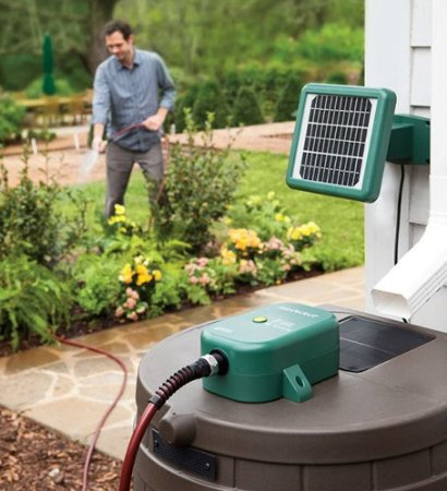 Solar Powered Rain Barrel Water Pump - Get more from your rain barrels. Stay off the grid and use a cool solar power pump to get the water to where you want it!