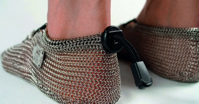 Get Medieval With Chainmail Barefoot Shoes — Unless your feet are covered by thick slabs of callus, you won't be running around barefoot anytime soon. If you want your feet to interact with the environment as nature intended, but don't want to risk pain an injury to your sensitive feet, these chainmail barefoot sleeves may help.