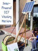Solar-Powered DIY Washing Machine - This solar-powered washing machine is made using bicycle tires, bamboo, a recycled electric motor and a solar panel. Because the machine is made from materials available all over the world and powered by renewable solar energy, people in any part of the world could make one and use it!