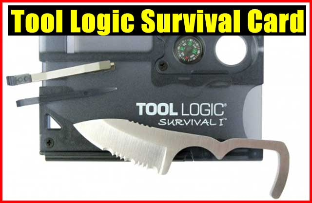 Tool Logic Survival Card - It has been known that if a survival item has more than 2 uses it's worth carrying it in your kit. This Tool Logic Survival Card has taken that to the whole new level. It f features a serrated knife, a magnesium fire starter, signal whistle, 8x power lens, compass, tweezers and toothpick.