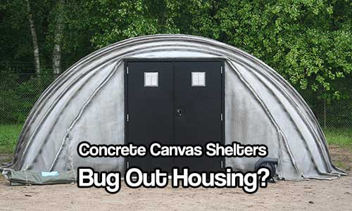 Concrete Canvas Shelters - Concrete Canvas is a flexible concrete impregnated fabric that hardens on hydration to form a thin, durable water proof and fire-resistant concrete layer.  Essentially, it's concrete on a roll.