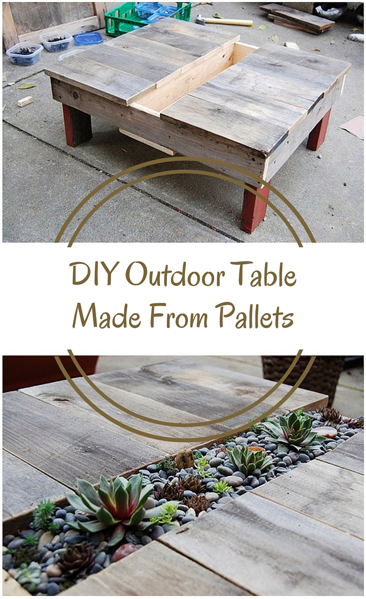 Diy outdoor table made from pallets shtf prepping for Diy pallet patio table