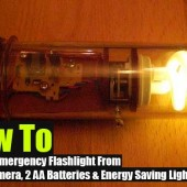How To Make An Emergency Flashlight From  An Old Camera, 2 AA Batteries & Energy Saving Light Bulb