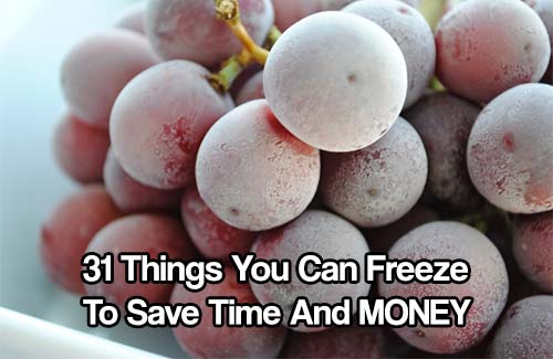 31 Things You Can Freeze To Save Time And MONEY - This is a great list of 31 items that you can freeze including, this is great to save time, you can make all your food at the begging of the month then freeze them for later, or if you see food and discounted prices buy a lot and freeze them for later.
