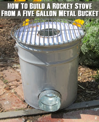 How To Build A Rocket Stove From a Five Gallon Metal Bucket - Having a way to cook if the SHTF is obviously a given, having a way to cook with less fuel is the smartest thing to have. A rocket stove can boil water and cook food on only a few sticks and twigs. They are super efficient.