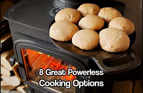 8 Great Powerless Cooking Options -  So you are storing extra food for times of emergency, right? Unless you have all canned goods or MRE's, that food will need to be cooked. Even canned meals and MRE's taste better warmed up.