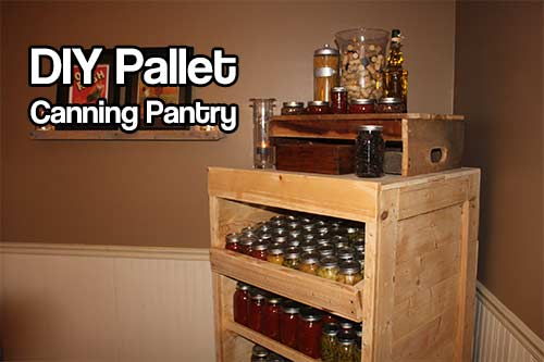 DIY Pallet Canning Pantry - This is a great DIY guide to turn old pallets into a beautiful canning pantry cupboard, so you can sort out all your jars of canned food.