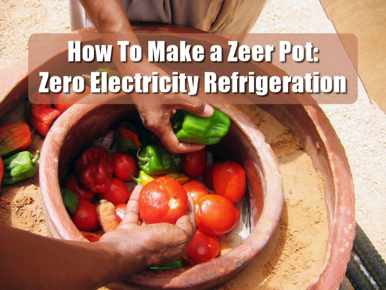 How To Make a Zeer Pot: Zero Electricity Refrigeration - By keeping the sand moist, evaporation enables the storage of vegetables to last much longer than typical in a hot climate. The evaporation of the water in the sand helps to keep the produce inside the pot within the pot nice and cool. Refrigeration with no electricity!