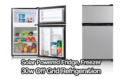 "Solar Powered Fridge, Freezer 30w Off Grid Refrigeration - The average power use 30 watts! (740 watts a day) can be run on a single solar panel! (and 2 batteries). Kenmore 'Freezer Fridge' has a relatively large freezer (holds full gallon jugs). great ""freezer fridge"" for off grid living."