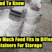 How Much Food Fits in Different Containers For Storage - This is good knowledge to know because you can budget accordingly and not buy to much or to little food. I suggest printing this list off and keep it with your stored food and/or emergency binder for future reference.
