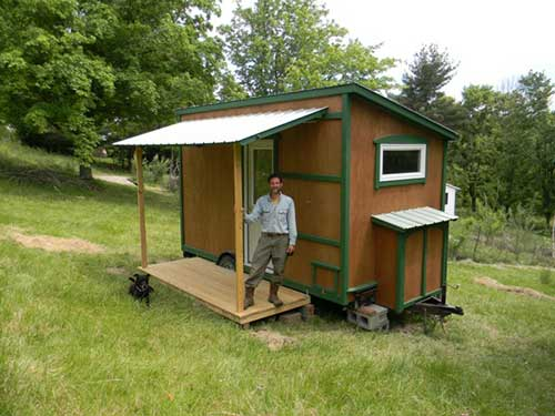 112 square feet off grid tiny house with folding porch for Tiny house with porch