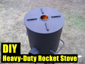 DIY Heavy-Duty Rocket Stove - Rocket stoves keep the fuel in oxygen and high heat at all times, this is why they are so efficient. They hardly produce any smoke and smell so in an emergency situation this may be a great advantage.