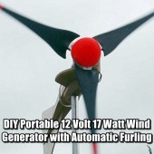 DIY Portable 12 Volt 17 Watt Wind Generator with Automatic Furling