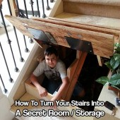 Turn Your Stairs Into A Secret Room - I have a small house but I have a great stairway that is just a waste of space. With this idea, I could turn that into a little hidden room either to hide or stash preps. Maybe even let the mother-in-law stay in there :)