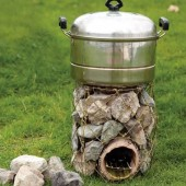 DIY Rocket Stove Out Of Stones And Coat Hangers