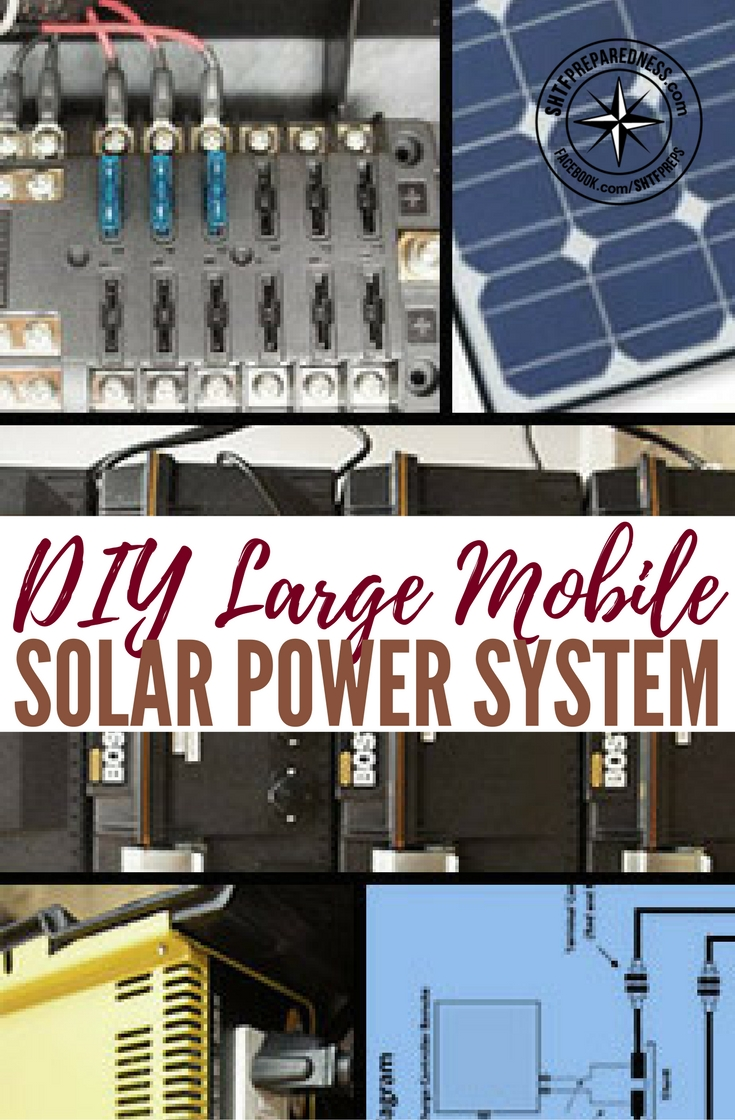 DIY Large Mobile Solar Power System — I have covered a simple portable solar generator many times over the years.. They work great but what if you needed a bigger solar generator and still wanted it mobile enough to take it with you where ever you go, either camping or bugging out?