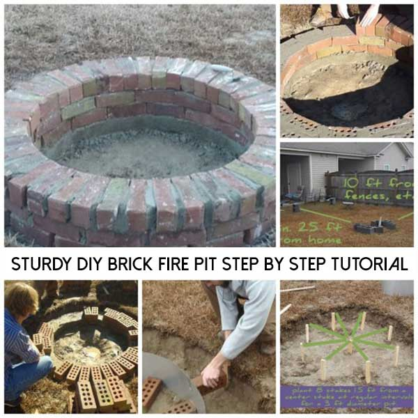 Sturdy diy brick fire pit step by step tutorial shtf for Step by step fire pit