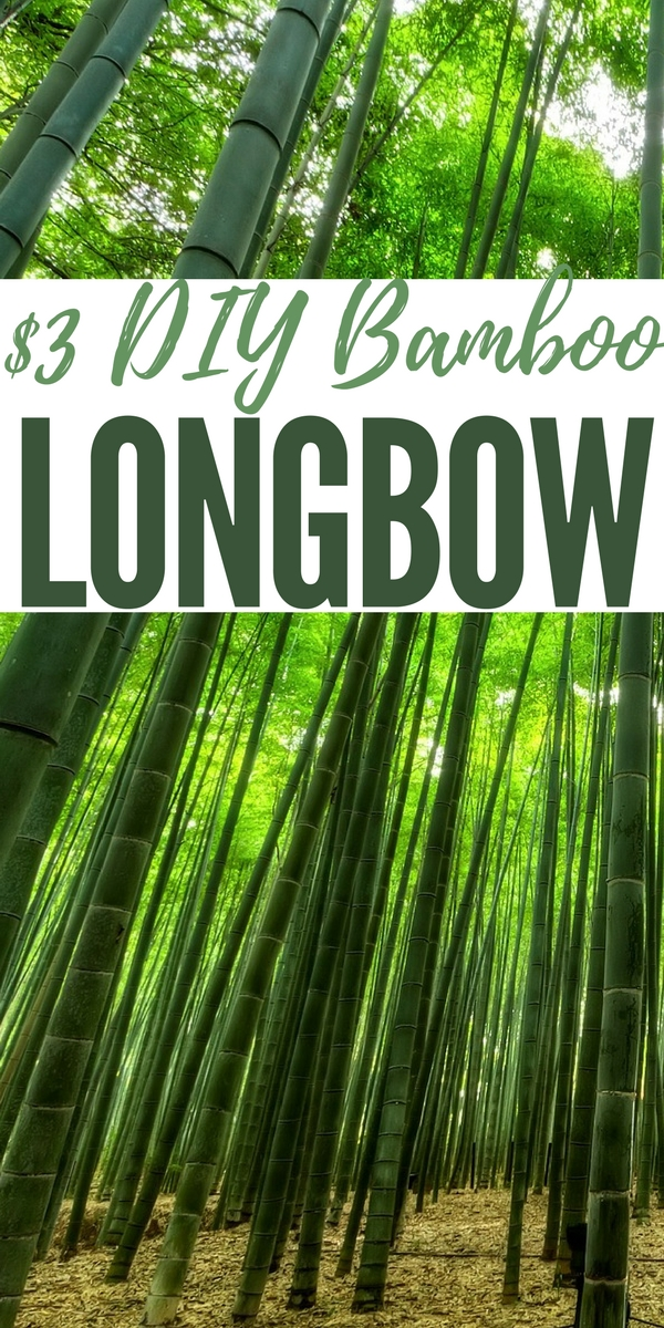 $3 DIY Bamboo Longbow — The long bow! One of the earliest weapons made by man. You can make your own from Bamboo for around 3 bucks! This is pretty powerful and will be plenty adequate to hunt small game and maybe even mid size animals.