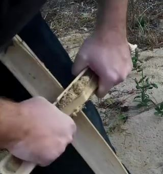 Preparing bamboo for a fire