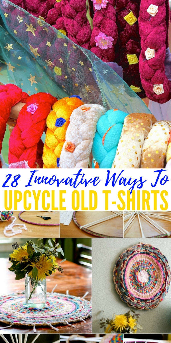 28 Innovative Ways To Upcycle Old T-shirts — I don't know about you guys, but I have probably a good 30 old T-shirts laying around the house that i tell my wife to keep and not throw away because we could use them if the power goes out to keep warm.
