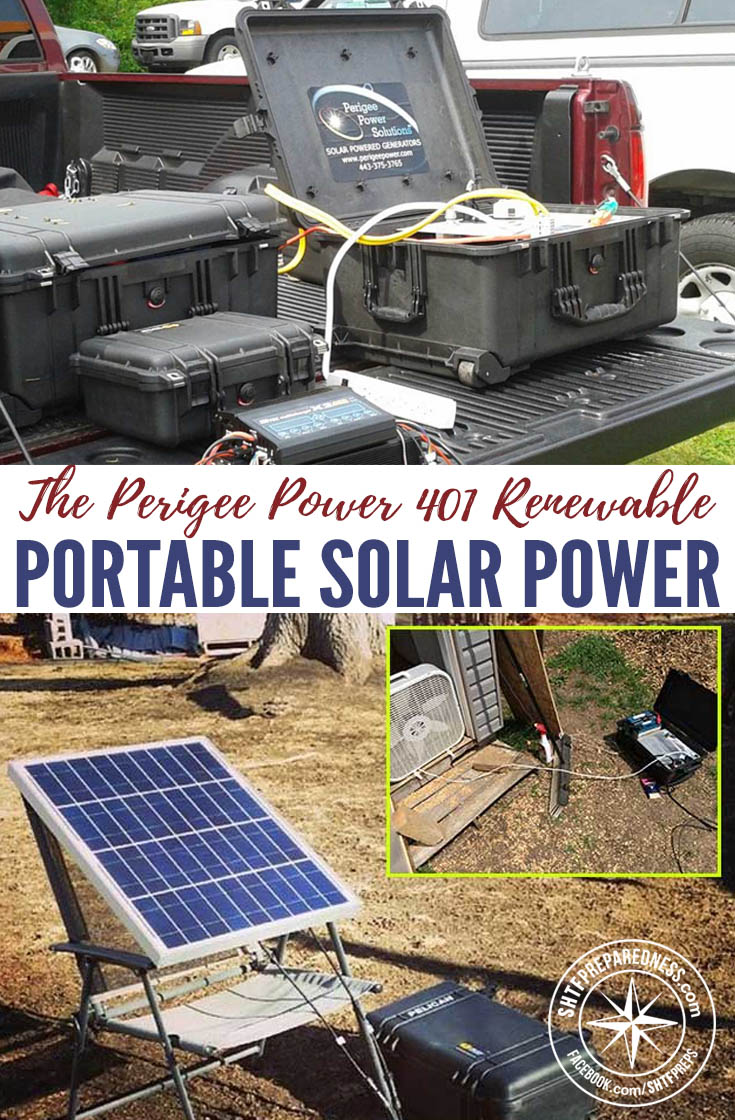 "The Perigee Power 401 Renewable Portable Solar Power Generator — The 401 ""Carry-On"" is a portable power system that produces household electricity for products rated at 600 watts or less."