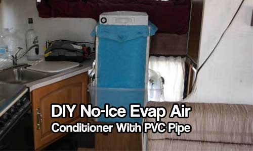 DIY No-Ice Evap Air Conditioner With PVC Pipe -  All you need is water and a car battery to run this. Sounds like a perfect playa/prepper/camping project to me. This is an alterative to designs that require ice because ice won't always be available.
