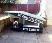 DIY Pallet Pet Kennel With Sundeck - This is a great pallet project but this time its for our pets. See how to make this pet kennel with a sundeck and have a happy dog or cat this summer.