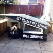 DIY Pallet Pet Kennel With Sundeck