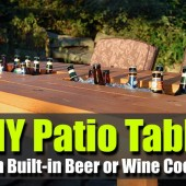 DIY Patio Table with Built-in Beer or Wine Cooler