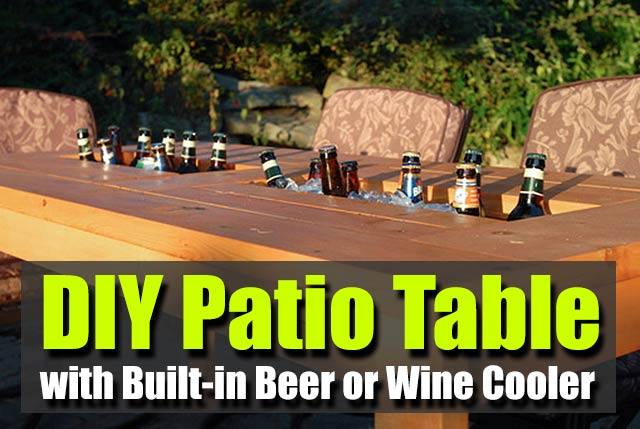 Diy patio table with built in beer or wine cooler shtf for Beer and wine cooler table