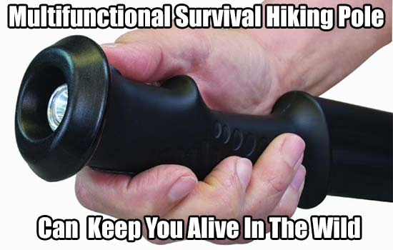 Multifunctional Survival Hiking Pole Could Save Your Life! - This hiking pole can turn into a spear, brush axe, flashlight, stun gun and more… very useful if SHTF or you are bugging out and need a weapon.
