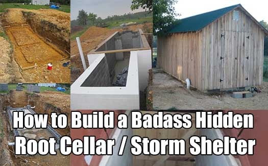 How to Build a Badass Hidden Root Cellar / Storm Shelter - We all know that a root cellar is a great place to store your food and root vegetables. The temperature is always cool and dark and the humidity is always dry (if you built it right).