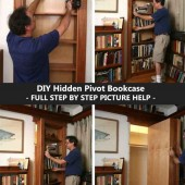 DIY Hidden Pivot Bookcase – FULL STEP BY STEP PICTURE HELP