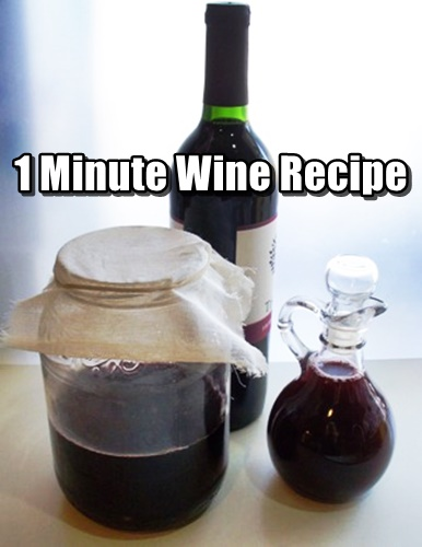 1 Minute Wine Recipe - This step by step article details the process with pictures and easy to understand instructions. Included are ways to make small batches and reusing the plastic jug of the juice you decided to buy for the flavor you want.