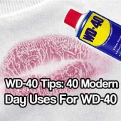 As we all know WD-40 has always been known to stop creaks and squeaks but little do people know that it is as useful as duct-tape, if not more useful. I have used WD-40 for years. Not only to stop the creeks and squeaks of a gate or oiling your bike chain, but for getting stains out of furniture and cleaning up stuff off granite counter tops. Did you know if you spray WD-40 onto a mirror and wipe it off your mirror won't steam up when you are taking a shower? Also another good use is that it can protect your silver stockpile from tarnishing, just give it a light spray and wipe it off, boom, you have protected silver that will look amazing for a long time. This stuff is truly amazing. There are a lot of myths about using this product. One of the biggest I know about is that if you use WD-40 on your fishing hooks you catch bigger fish! Well, I am sorry to disappoint you. This isn't true.. WD-40 is a great survival tool because it is so versatile and useful. This product is still pretty cheap and so worth it's weight in gold… that's my opinion, anyway. Checkout the 15 40 modern day uses for this wonder product and get stockpiling it now :) See the tips / hacks at… 15 Modern Day Uses For WD-40