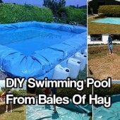 DIY Swimming Pool From Bales Of Hay - If you have always wanted a pool but never have the money to spend on a decent one this is your project! When the summer is over, you simply disassemble the liner, stack the hay and wait for next summer.