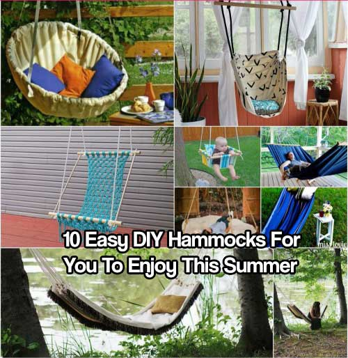 10 Easy DIY Hammocks For You To Enjoy This Summer - You can make hammocks from a variety of things that you probably have laying around the house. Hammocks are my favorite thing to laze around in during a hot summer day!