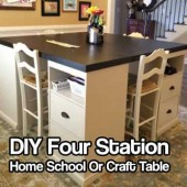 DIY Four Station Home School Or Craft Table - Great DIY home school desk. If you don't home school you can build this and have it for your crafts. If you don't need 4 places to sit you can put it in the corner of a room and have just 2.
