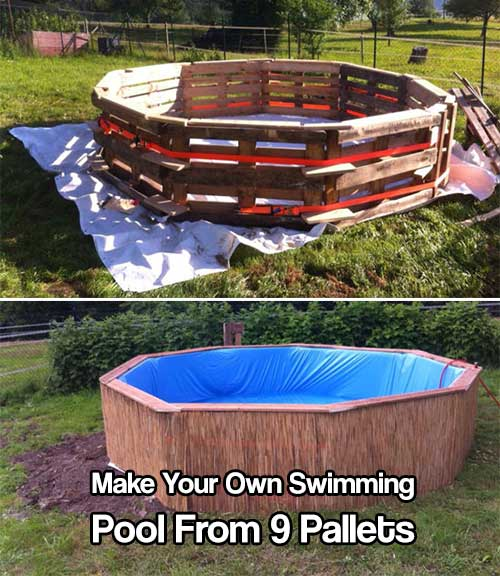 Make your own swimming pool from 9 pallets shtf prepping for Build your own pool