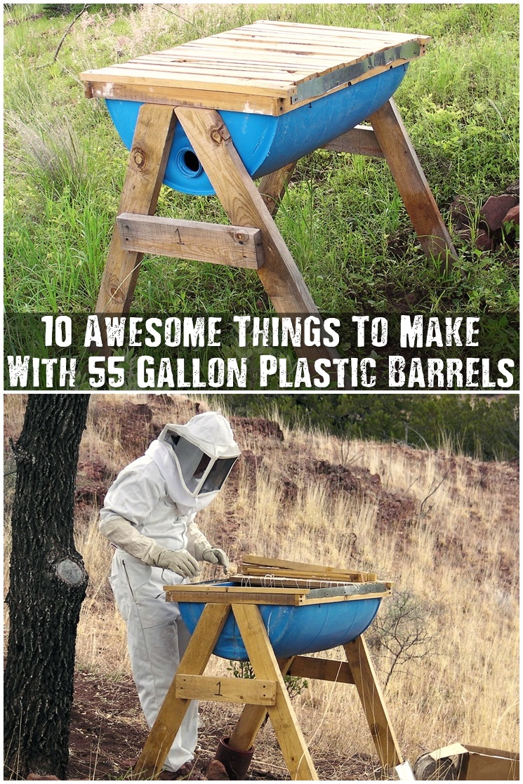 how to make a water barrel blue plastic