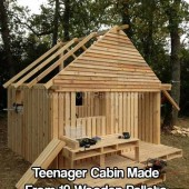 Teenager Cabin Made From 19 Wooden Pallets - I wish I had this enthusiasm and will back when I was a teenager. Boy, I can just imagine where I would be in life now if I did this back in the day. Who knows, maybe mortgage free and living the off grid dream.
