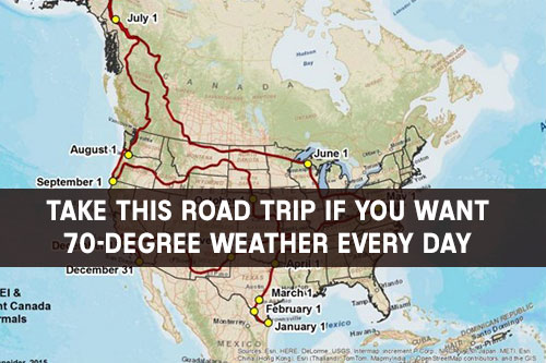 Take This Road Trip If You Want 70-Degree Weather Every Day