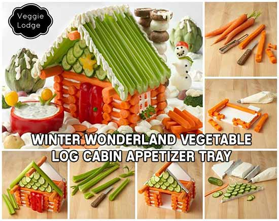 Winter Wonderland Vegetable Log Cabin Appetizer Tray