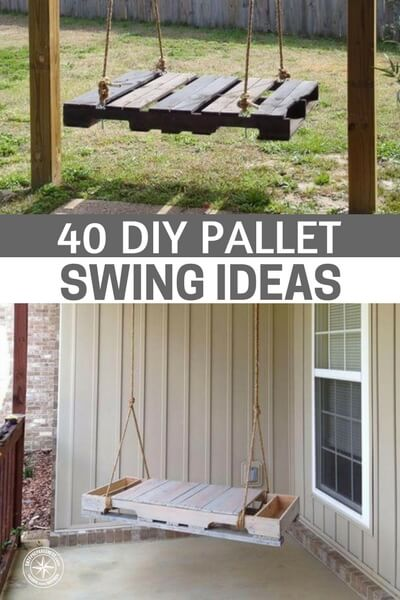 40 DIY Pallet Swing Ideas - These are not DIY project per say, they are a collection of photos to help you find the right style of swing and then you can do some simple Google searches and probably could find the free plans too. Remember to check out Craigslist or your local shops as they always have free pallets going.