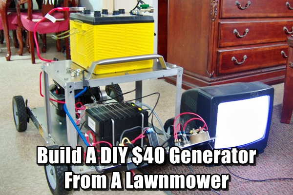 Build A DIY $40 Generator From A Lawnmower - Don't throw away your old lawnmower, upcycle it into a cheap very powerful generator for your home. This generator can power TV's, freezers and Internet.